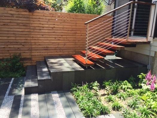 Fence And Stairway In Modern Urban Backyard Landscape