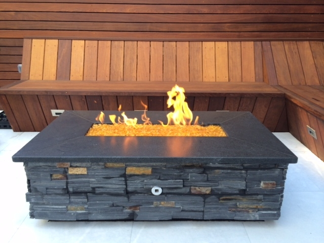 Fire pit with custom wood benches